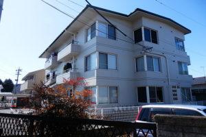 閑静な住宅街の中の、明るい外観のアパート。断熱性、気密性に優れているRC造。(外観)
